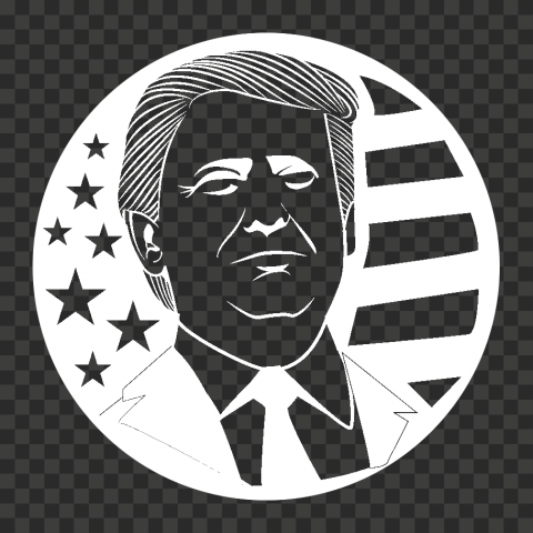 Round White Trump President Silhouette With Us Flag
