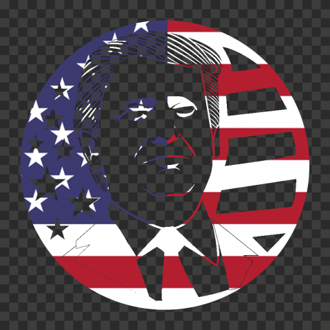 Round Trump President Silhouette With Us Flag