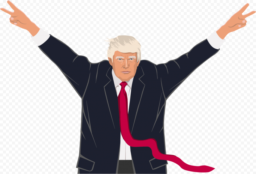 Standing Trump Peace Hand Sign Cartoon