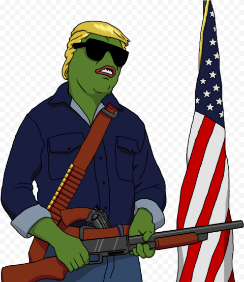 Standing Donald Trump Pepe Frog Face Hold A Weapon