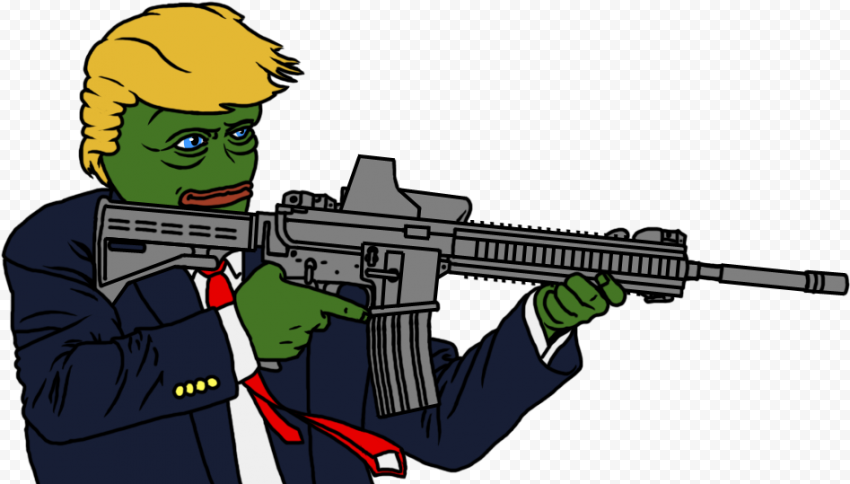 Pepe Frog Donald Trump Face Hold Weapon Vector
