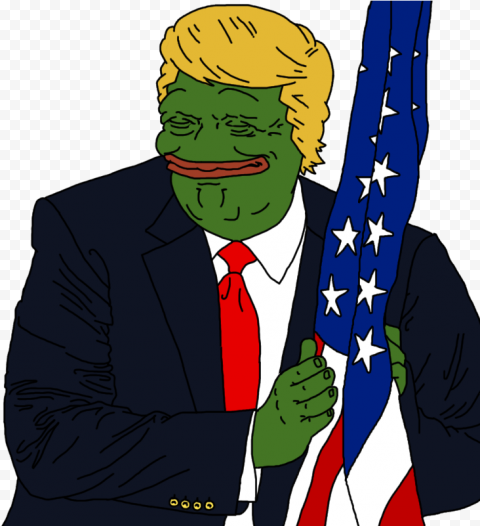 Donald Trump Pepe Frog Face Hold Us Flag Vector