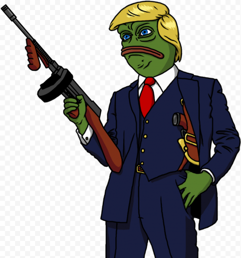 Mafia Style Donald Trump Pepe Frog Face Hold Weapon