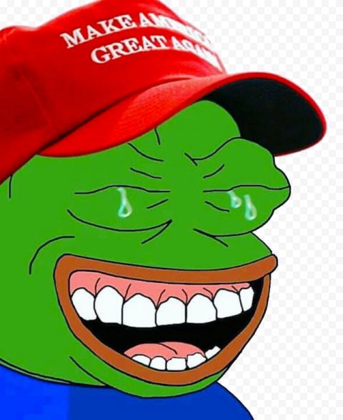 Pepe Frog Wear Make America Great Again Hat Laughing