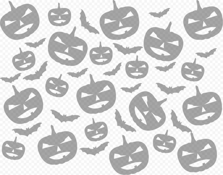 Pumpkins & Bats Silhouettes Pattern Background