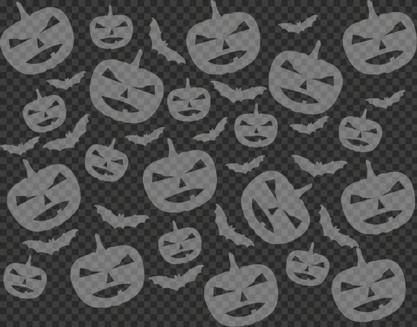 White Pumpkins & Bats Silhouettes Pattern Background