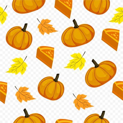 Pumpkin Autumn Leaves Pie Pattern Background