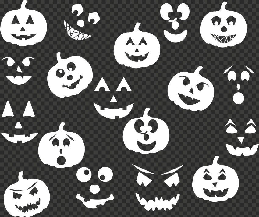 White Halloween Pumpkin Ghost Pattern Background
