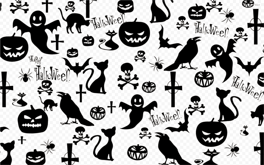Halloween Ghost Pumpkin Crow Pattern Background