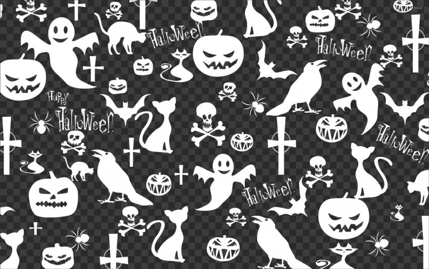 White Halloween Ghost Crow Pattern Background
