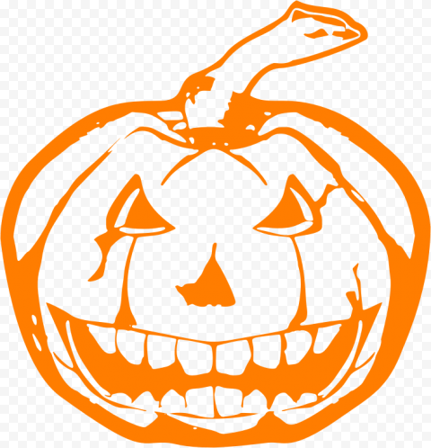 Orange Outline Drawing Halloween Pumpkin Shape