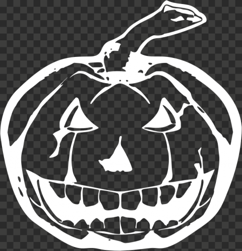 White Outline Drawing Halloween Pumpkin Shape