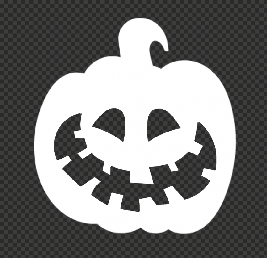 White Halloween Pumpkin Shape Silhouette