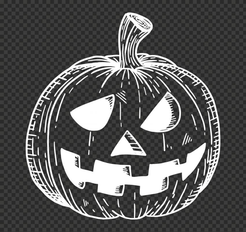 White Hand Drawn Line Halloween Pumpkin Face