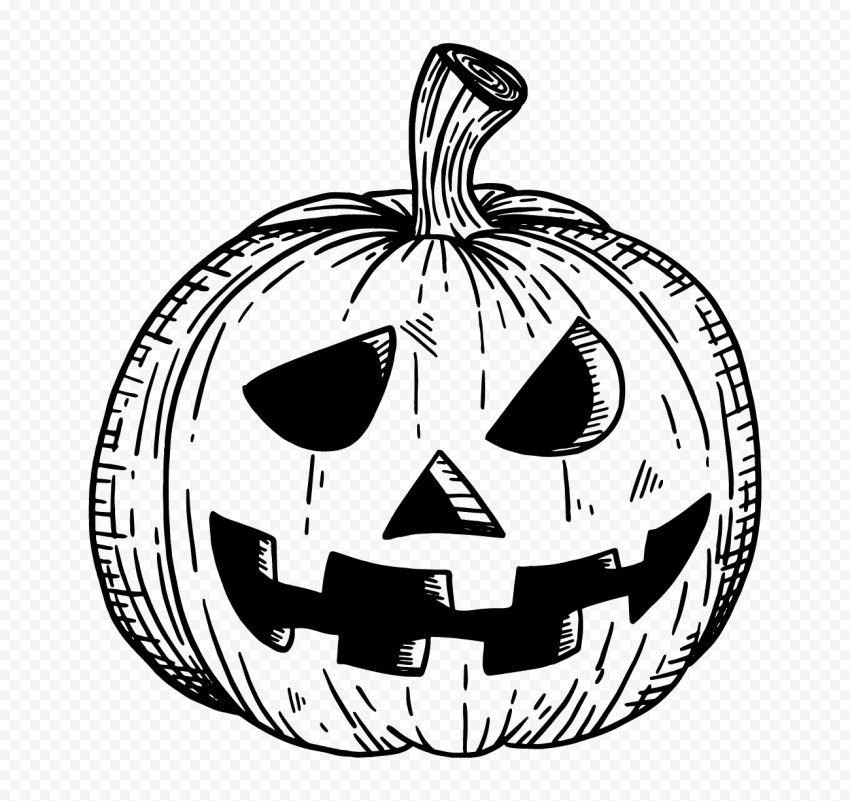 Black Hand Drawn Line Halloween Pumpkin Face