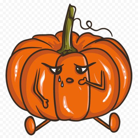 Cartoon Pumpkin Jack O Lantern Crying Sad Face