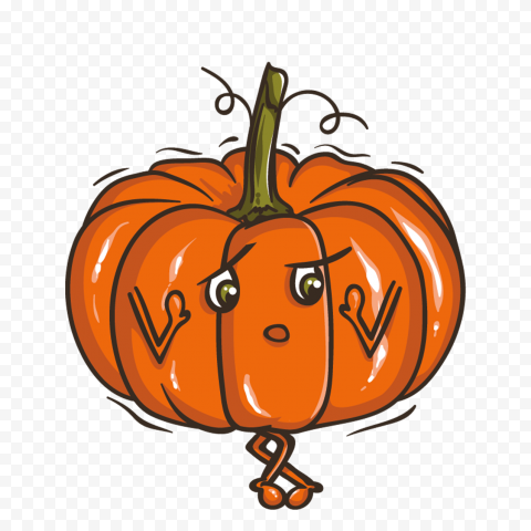 Cartoon Pumpkin Jack O Lantern Confused Face