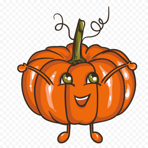 Cute Cartoon Pumpkin Jack O Lantern Happy Face