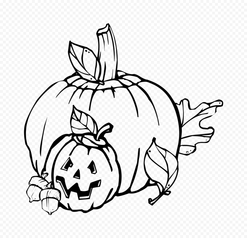 Halloween Line Drawing Pumpkins With Autumn Leaves