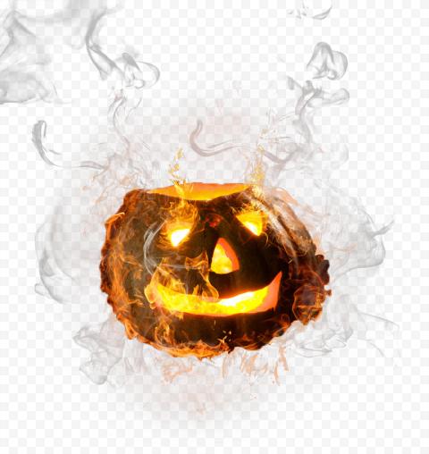 Halloween Burning Pumpkin Jack Lantern With Smoke