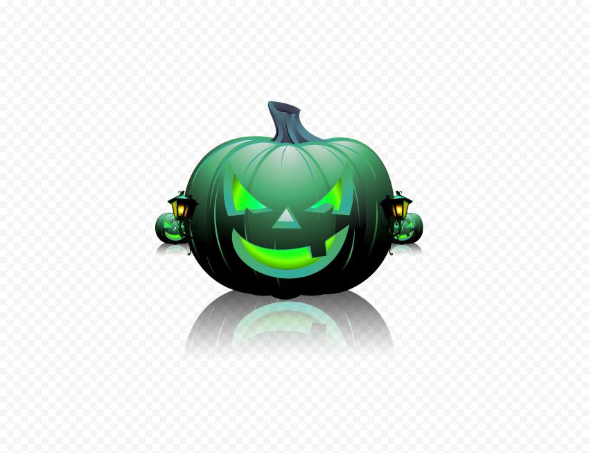 Full HD Green Halloween Pumpkin Evil Monster Face