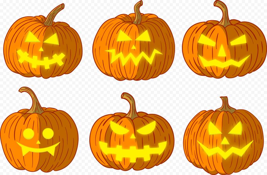 High Quality Set Of Vector Halloween Pumpkin Faces