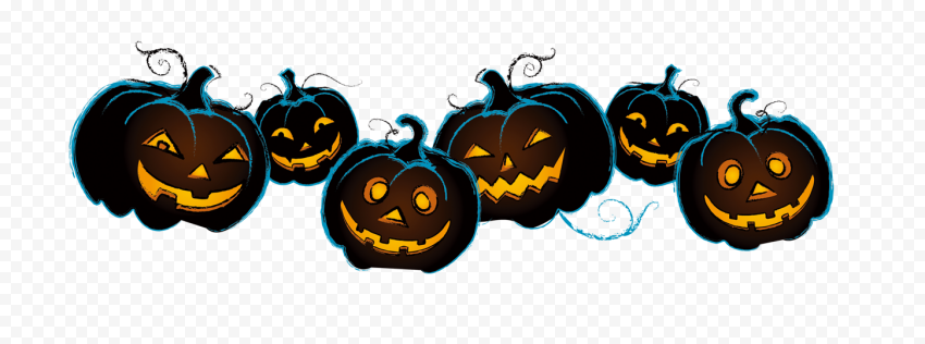 Group Of Halloween Pumpkins Happy Faces