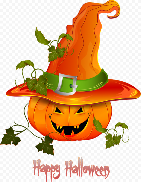 Happy Halloween Pumpkin With Witch Hat Illustration