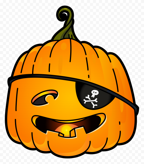Vector Halloween Pumpkin Wear Pirate Eye Patch