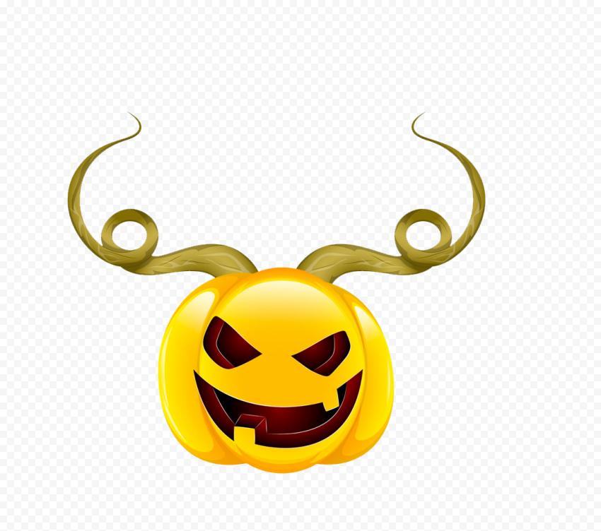 Halloween Pumpkin With Horns Cartoon Illustration