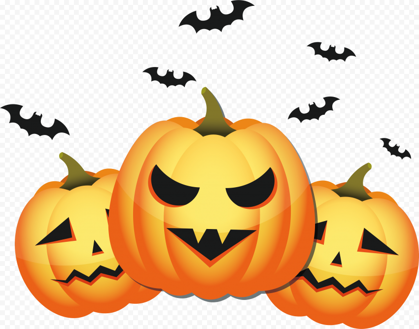 Three Halloween Pumpkins Scary Faces With Bats
