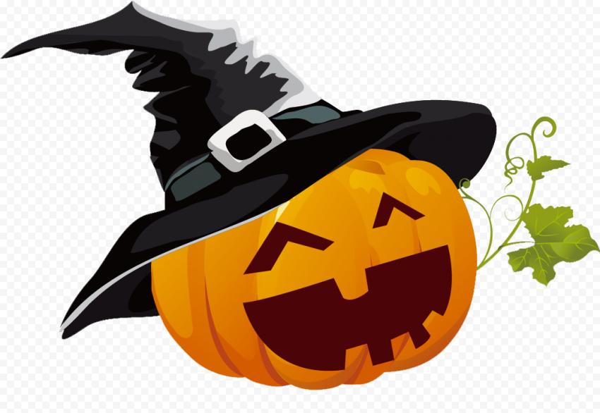Happy Smiling Halloween Pumpkin Wear Witch Hat