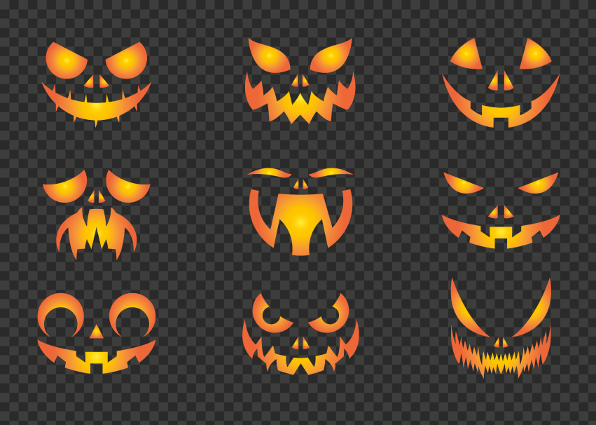 Group Of Pumpkin Faces Eyes And Mouth Silhouette