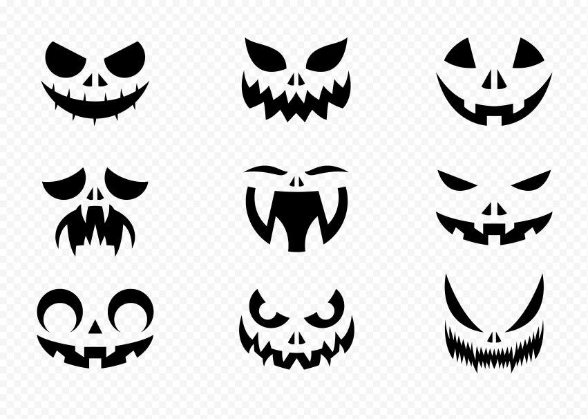 Group Pumpkin Faces Eyes And Mouth Black Silhouette