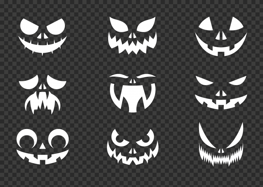 Group Pumpkin Faces Eyes And Mouth White Silhouette