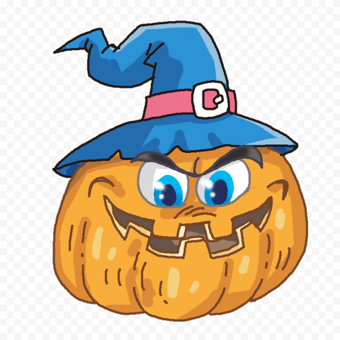 Evil Face Of Cartoon Pumpkin With Witch Hat