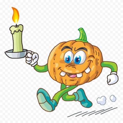 Funny Halloween Cartoon Pumpkin Run Hold Candle