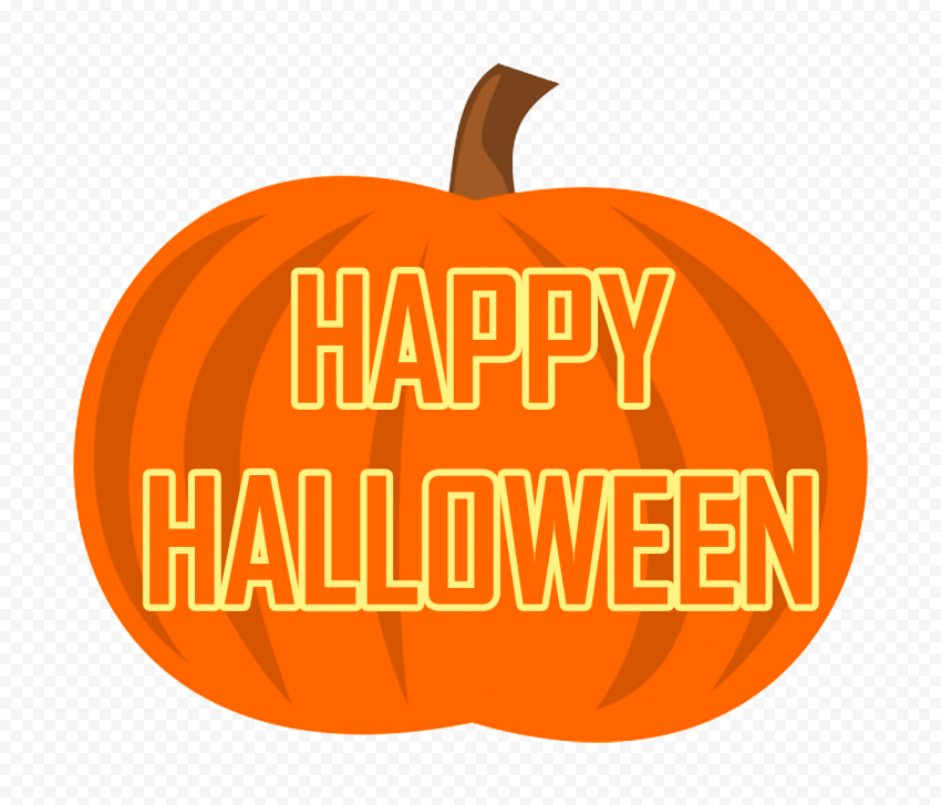 Happy Halloween Words Written On Cartoon Pumpkin
