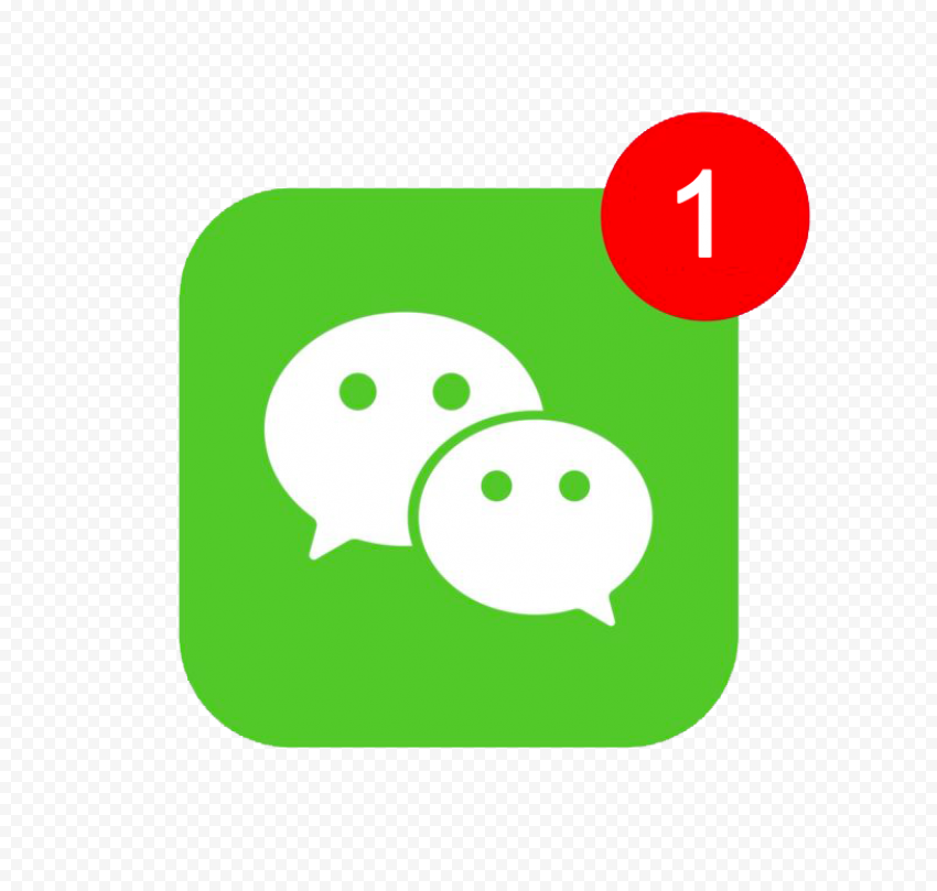 Square WeChat App Icon With One Message Notification