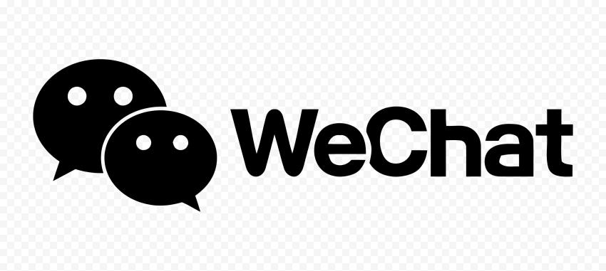 Black WeChat Logo With Messages Bubbles Icon