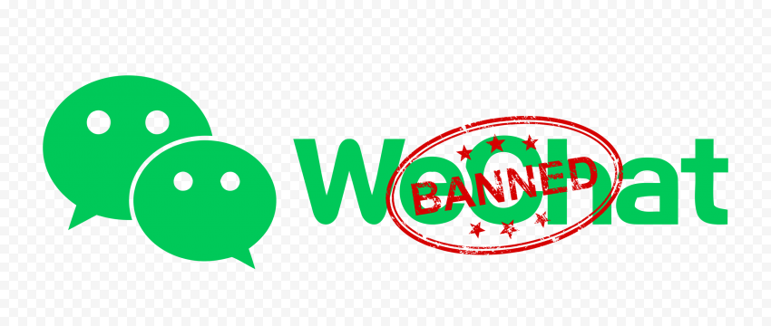 Green WeChat Logo With Banned Red Stamp
