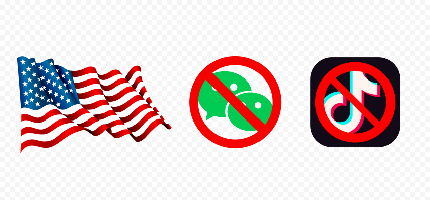WeChat And TikTok Logos Us Flag Banned Ban Sign