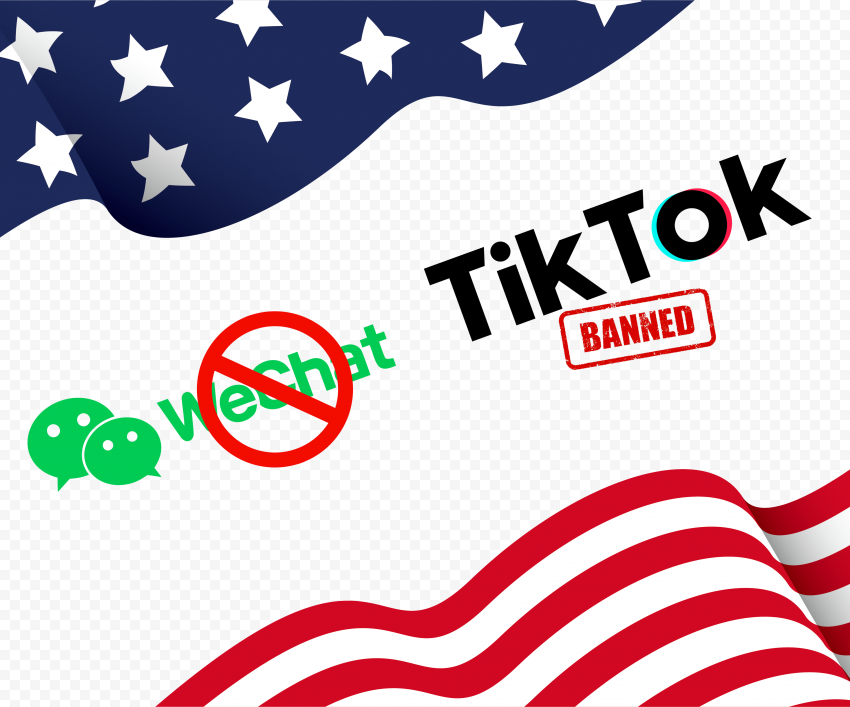 WeChat TikTok Logos Us Flag With Ban Sign
