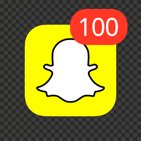 Snapchat Square App Icon With 100 Notifications