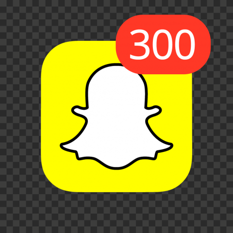 Snapchat Square App Icon With 300 Notifications PNG