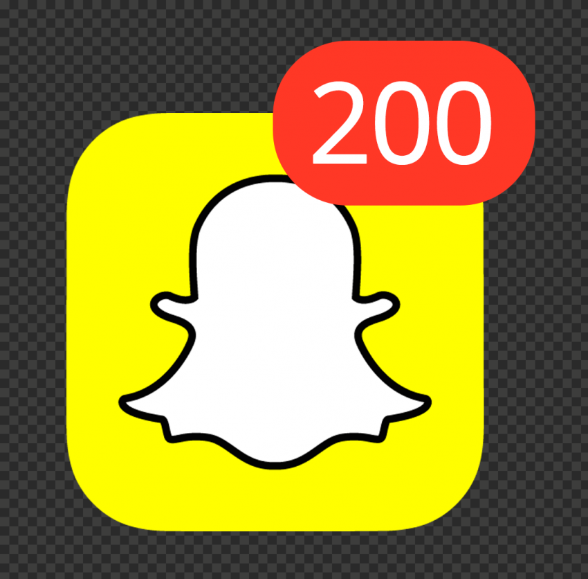 Snapchat Square App Icon With 200 Notifications PNG