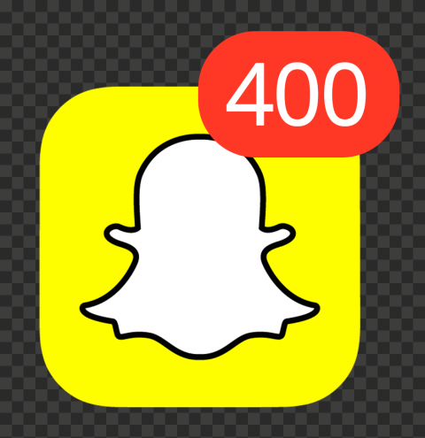 Snapchat Square App Icon With 400 Notifications PNG