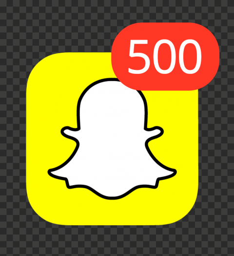 Snapchat Square App Icon With 500 Notifications PNG