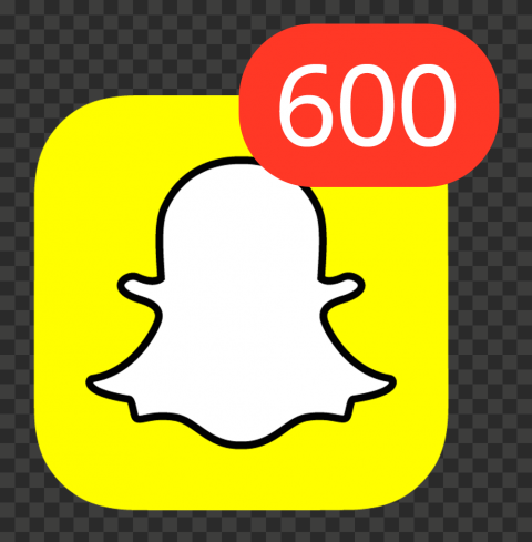 Snapchat Square App Icon With 600 Notifications PNG