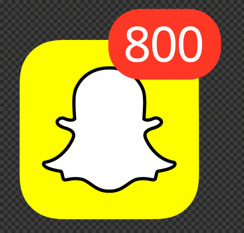 Snapchat Square App Icon With 800 Notifications PNG